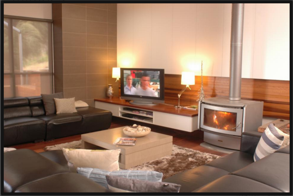 Entertainment Area Sprawling leather lounges around large Plasma Screen T/V DVD and Large Fire