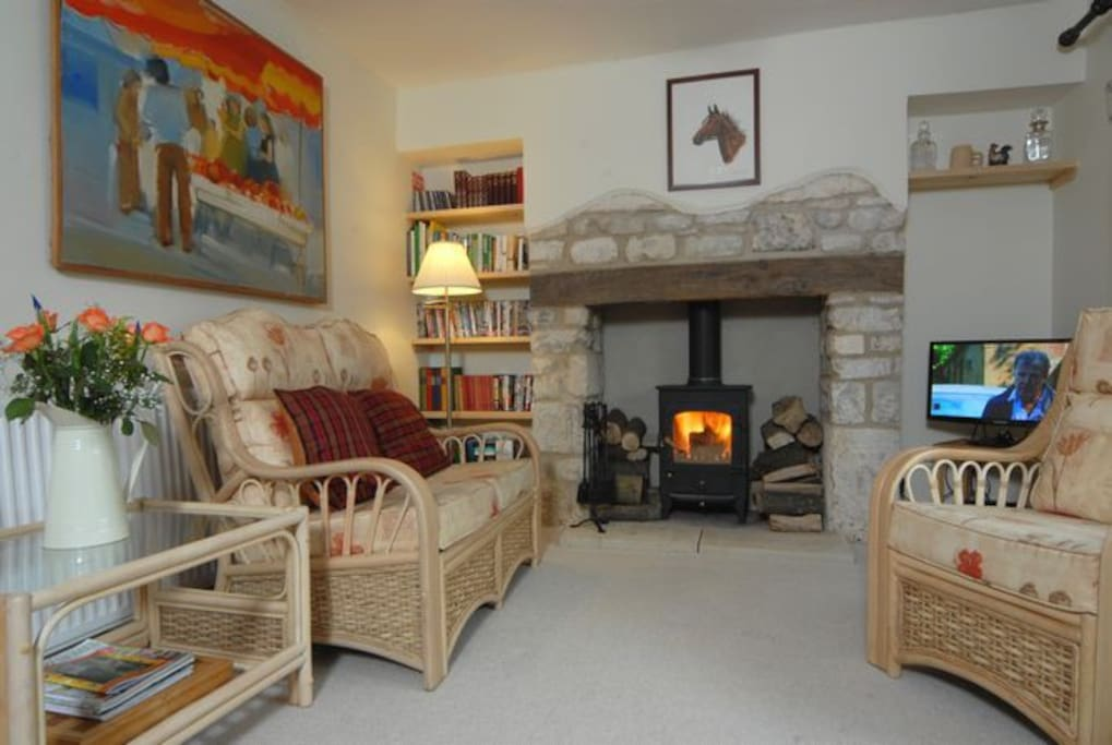Sitting room with wood-burning stove