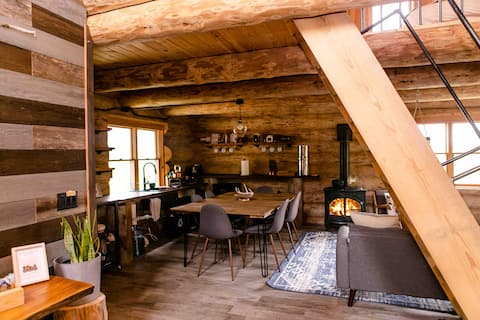 Ely бревенчатый дом: частный 40 акров и солнечная энергия