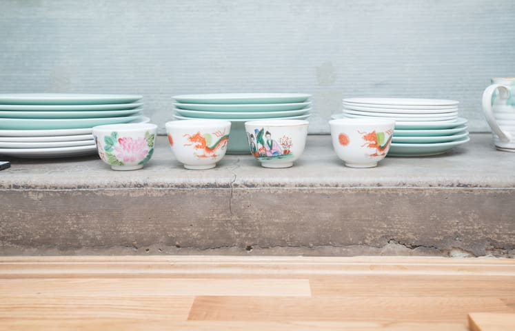Some of our favorite finds adorn your space. The vintage tea cups are just lovely!