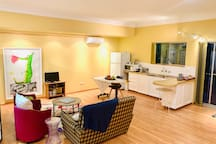 Our lovely spacious sitting room and kitchen