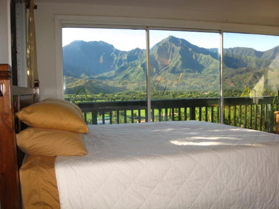 Your ultra-comfortable King-size bed with memory foam, new down pillows, quality sheets & a stellar view!