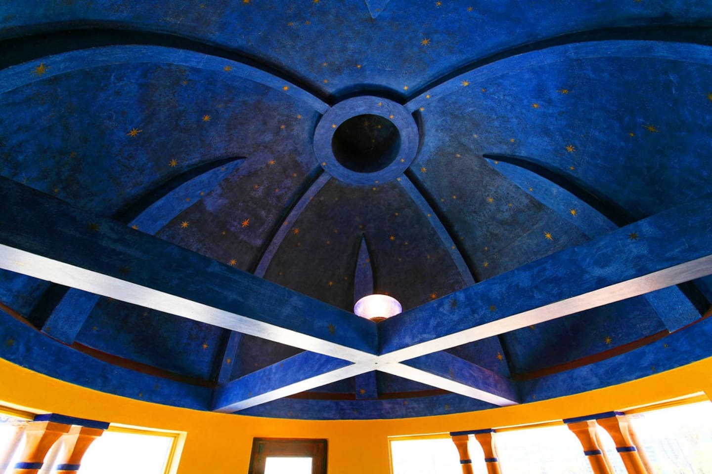 Under the blue (main) dome.