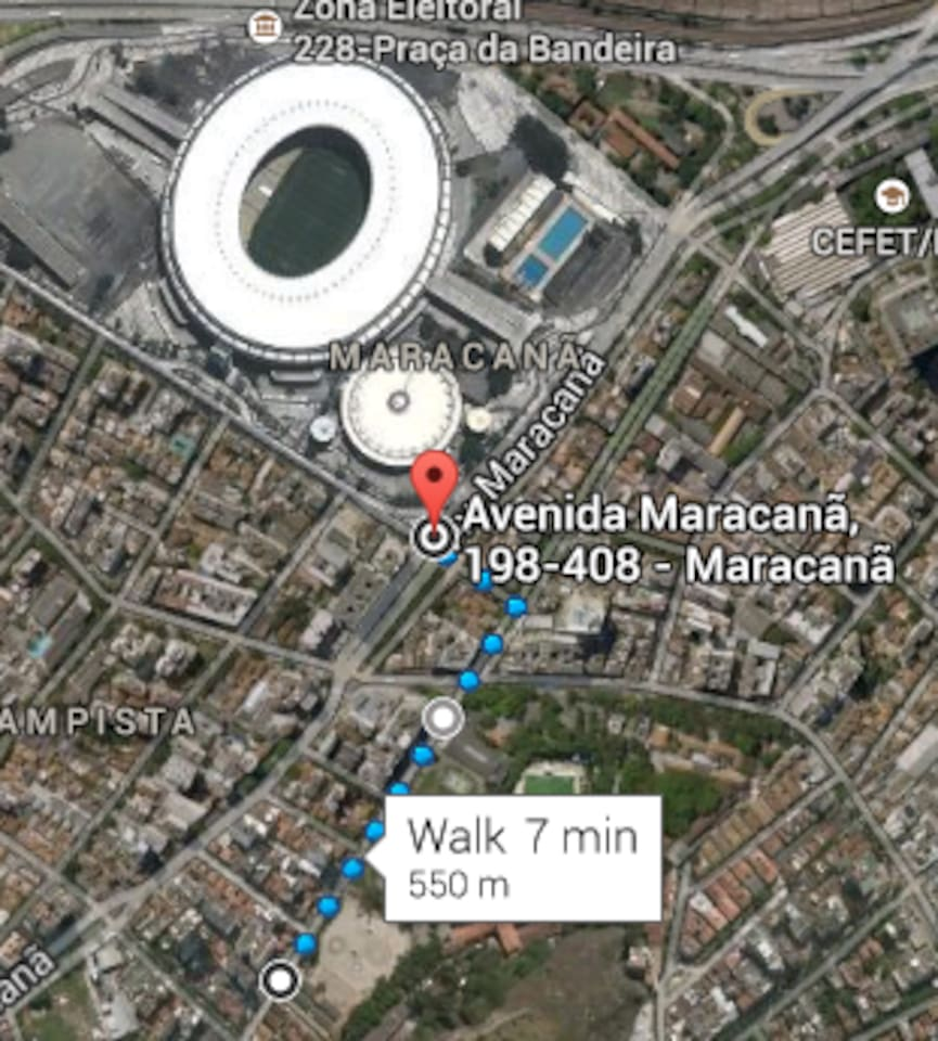 Distance to Maracana Stadium