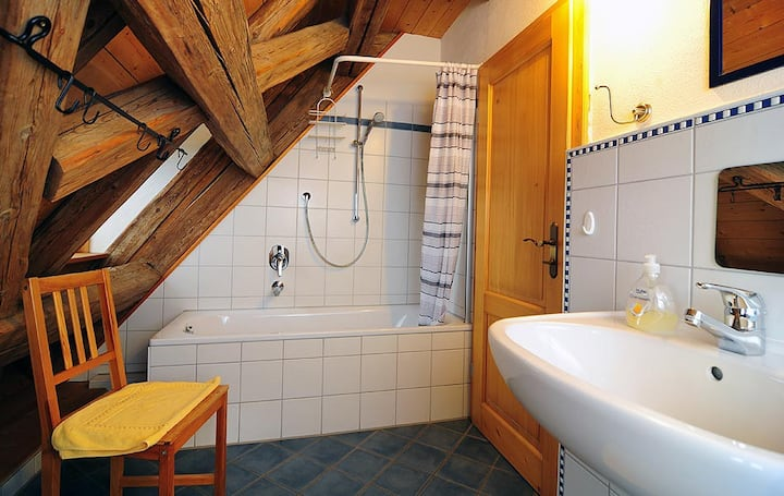 Erlebnis-Käse-Wohlfühl-Hof (Röckingen), Ferienwohnung Kornkammer mit hohem Deckengewölbe