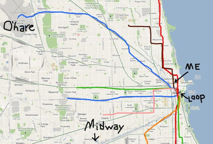 Area map, with CTA transit lines and my location relative to the Loop