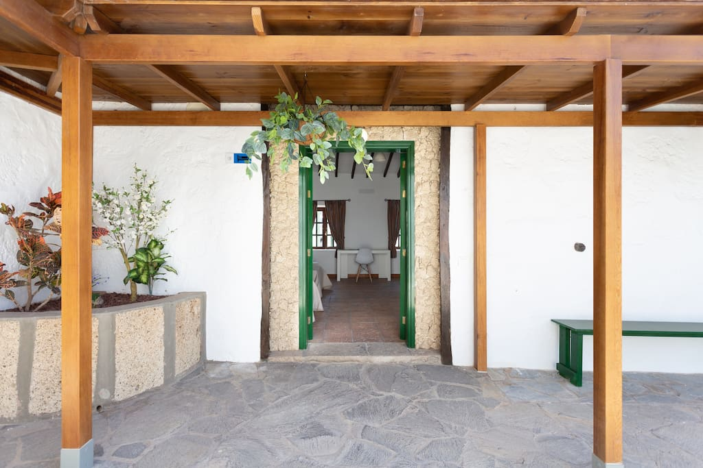 Interior patio that offers entrance to the different rooms