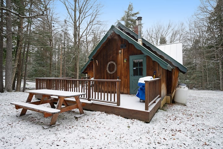Secluded dog-friendly chalet in the woods w/fireplace, jetted tub, deck, & grill