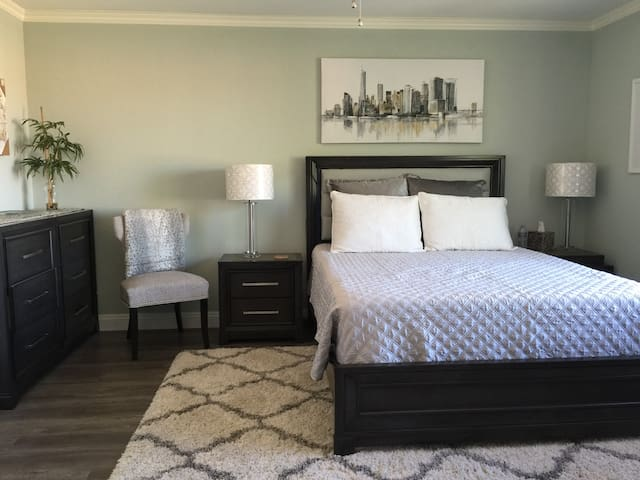 Silver Serenity Master Bedroom with queen bed and TV