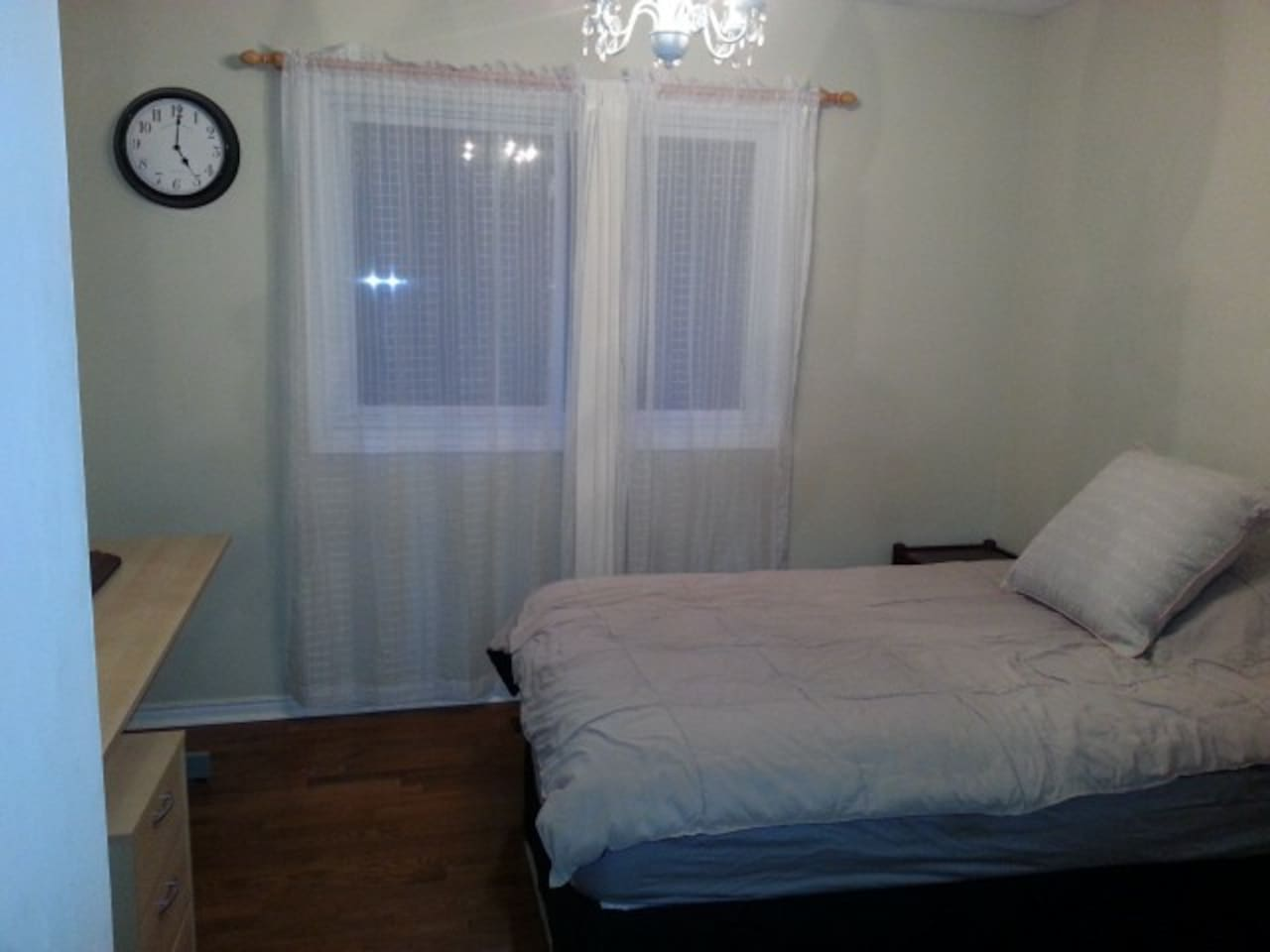 Here's the bedroom with a west facing window with a view of the garden.