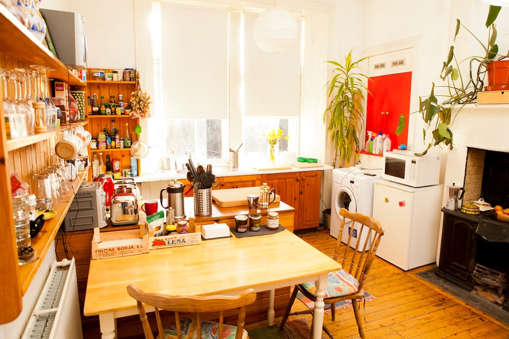 Lovely sunny kitchen. Help yourselves to condiments and store cupboard basics.