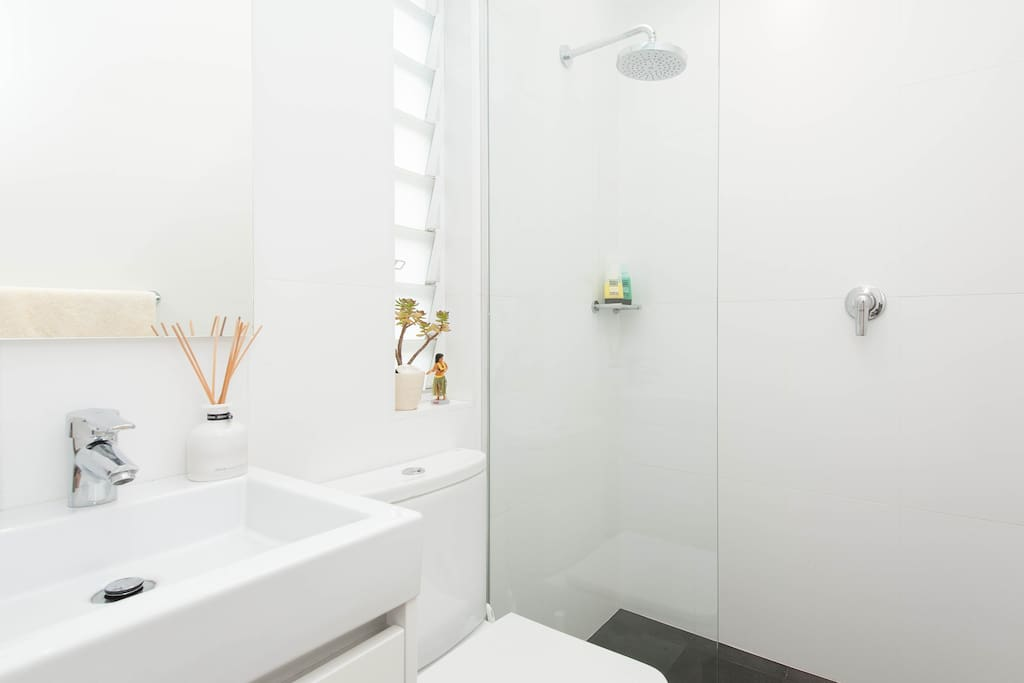 Your ensuite includes rainshower and skylight.  Vanity mirror conceals an array of travel size shampoos, conditioners and body lotions.