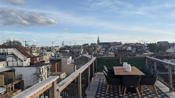 Rooftop Chess and Old Rowhouse Charm