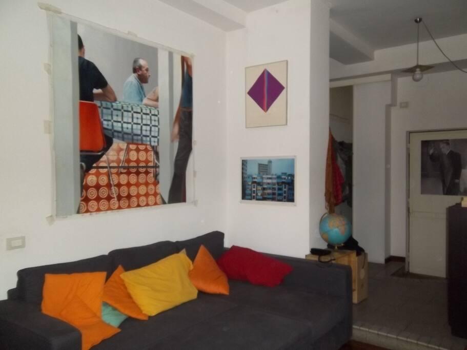 salotto_divano letto Living room with sofa bed