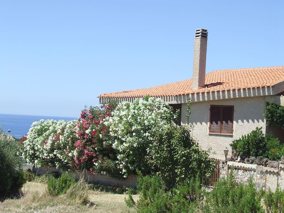 Vista della casa con mare di fronte