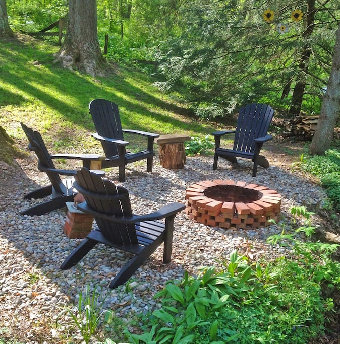 Fire pit by the creek that runs through the property.