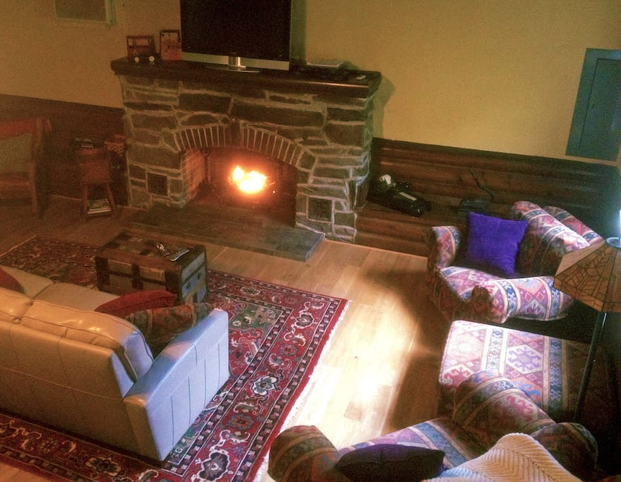 Gas log fireplace in the great room.