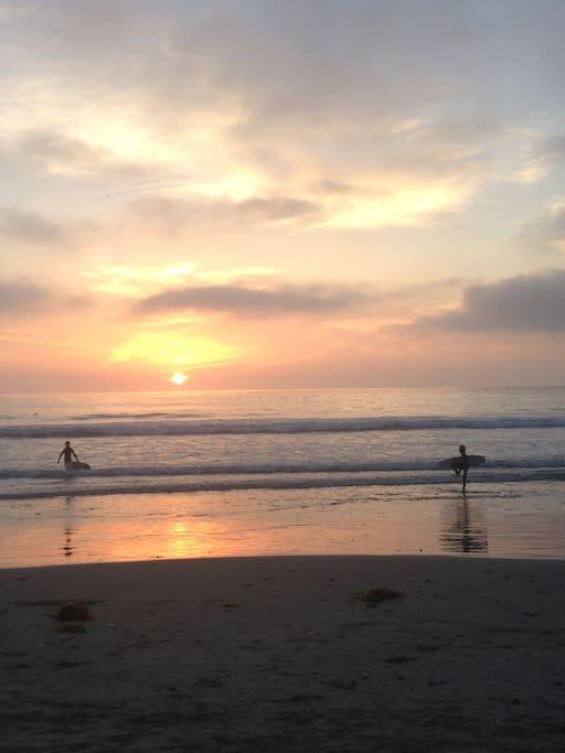Beach is 5-min walk