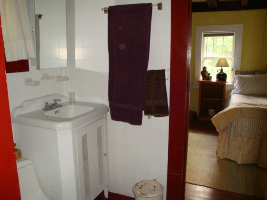 cool vintage touches sears sink and metal base, wood floors in bedroom,