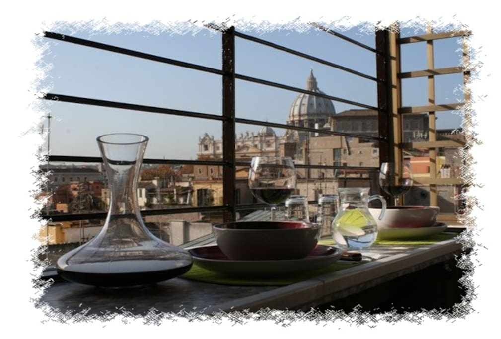 A glass of wine during lunchon the terrace...