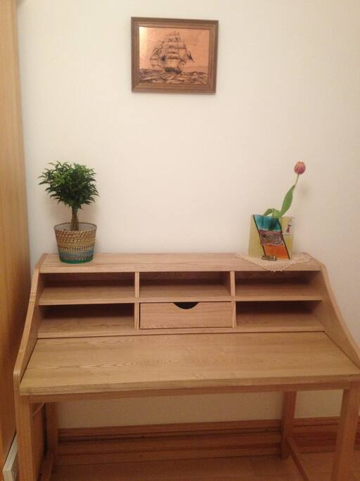 Practical Solid OakDesk with Pull Out Work Shelf