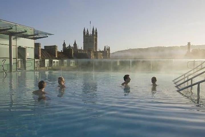 Bath's roof top spa. The stunning Georgian town of Bath. Still dedicated to small independent shops. This is the rooftop open air natural spa pool, after all that is why people come to Bath and how it came by its name.