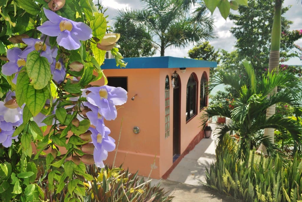 Exterior view of the Casita and the private balcony with a view over the lagoon