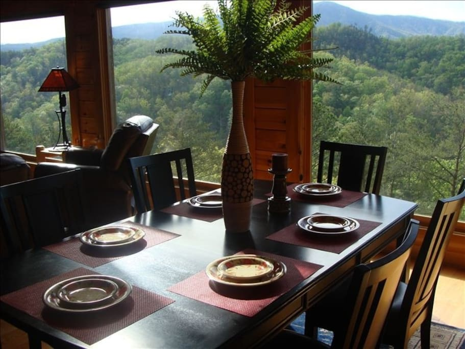Enjoy dining with a beautiful view of the mountains