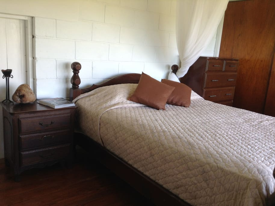 The upstairs bedroom with queen size bed.