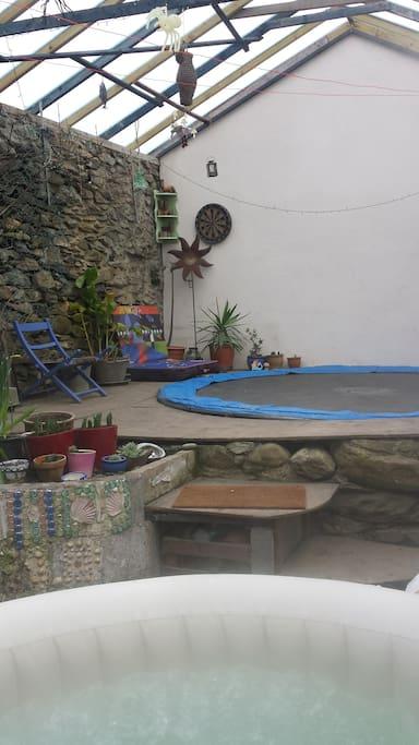 Trampoline in greenhouse