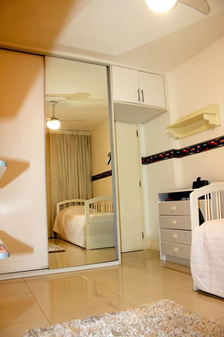 Beautiful and neat bedroom with built-in robes and cupboard space and natural light - all linen provided