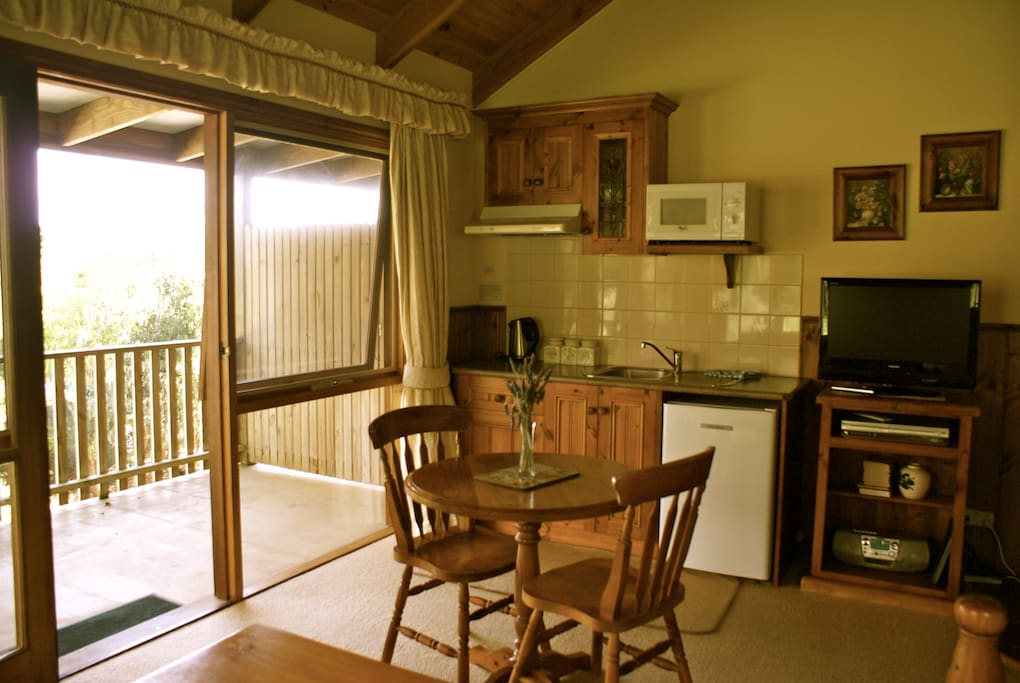 Kitchenette and private balcony