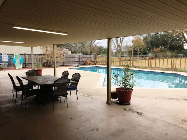 Down time on the shared patio and pool....