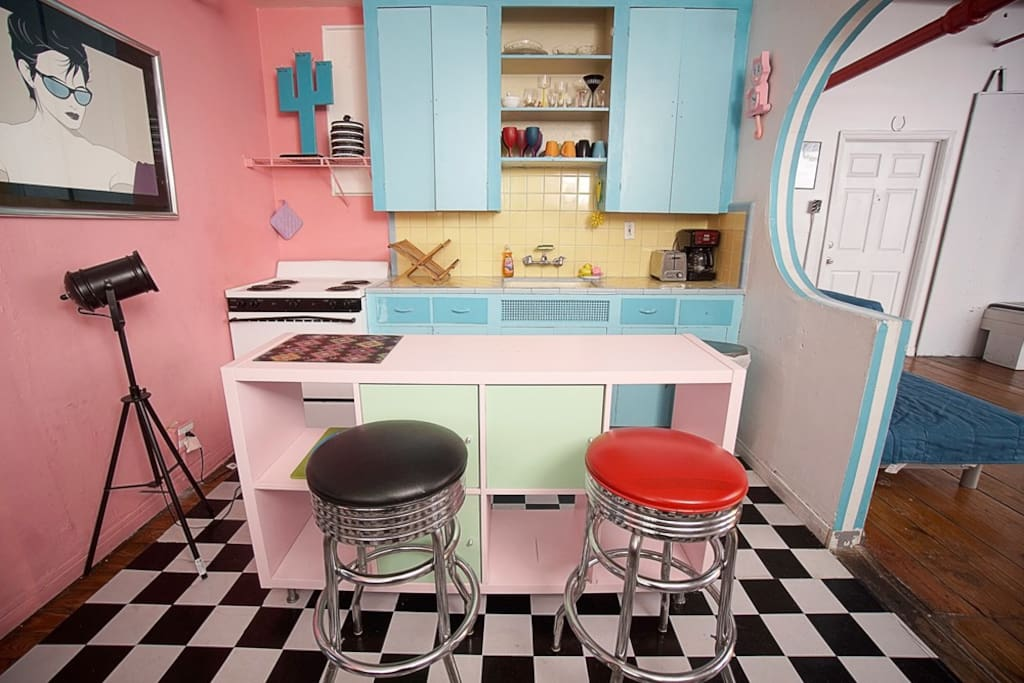 Retro Kitchen fully stocked and great for a photo ops! Used in Daddy Yankee music video Shaky Shake