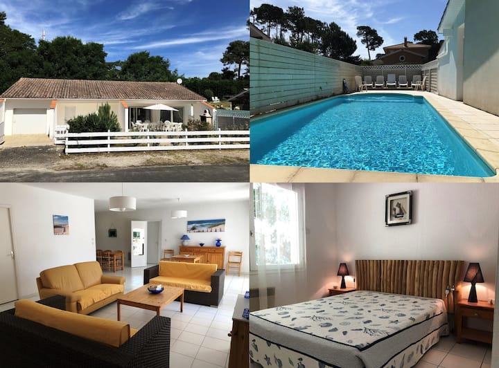 Villa avec piscine 10 pers 400m de la plage