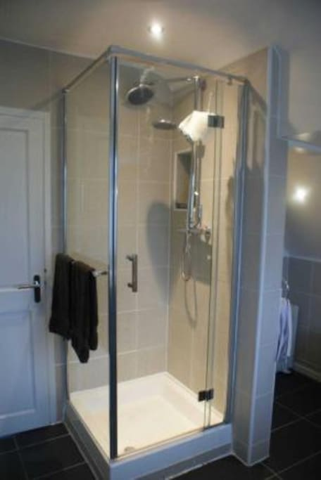 Shower in bathroom.