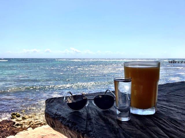 """It'a Another Tequila Sunrise..."" Breakfast at La Buena Vida in Akumal."