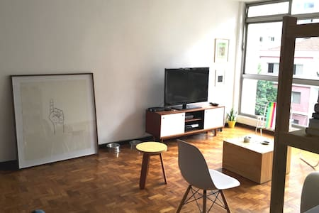 This spacious and bright apartment is shared by two friends, one architect and one artist and researcher. It is located in Pinheiros, a neighborhood famous for the bars and art galleries and just one block from a subway station.