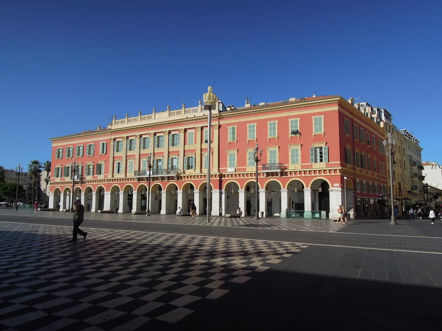 Building main view right in Place Massena at NICE very heart!