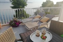 Part of the terrace from this studio in the morning