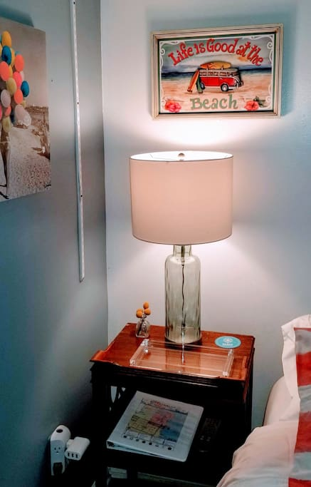nightstand, tray for personal items, guest book
