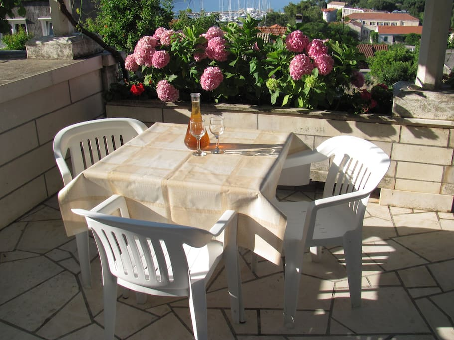 table on terrace
