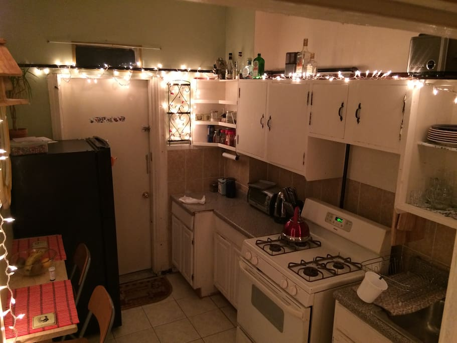 This is the shared kitchen at your disposal. Feel free to use our utensils, plates, cooking equipment, etc!