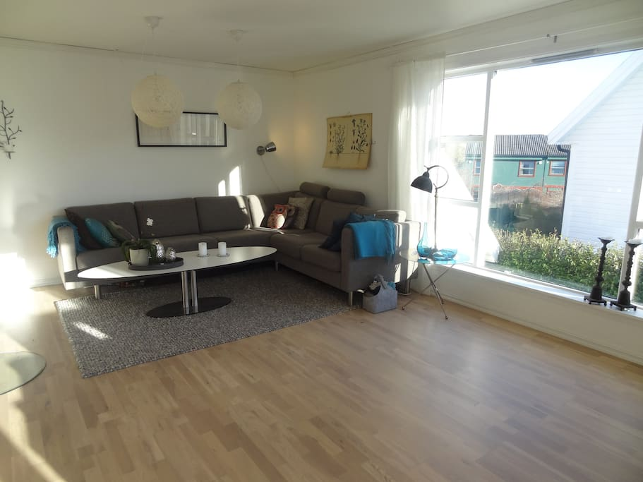 Livingroom, a nice and comfortable sofa- fits about 9 people. the TV is placed on the wall on the other side, easy for everyone to see.