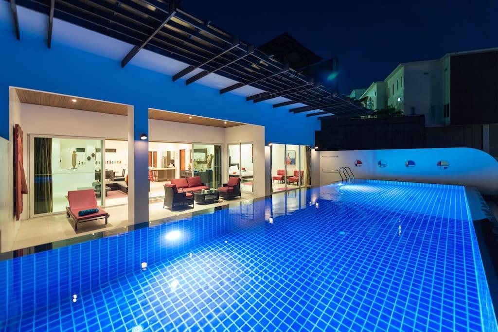 Pool & Villa at Night