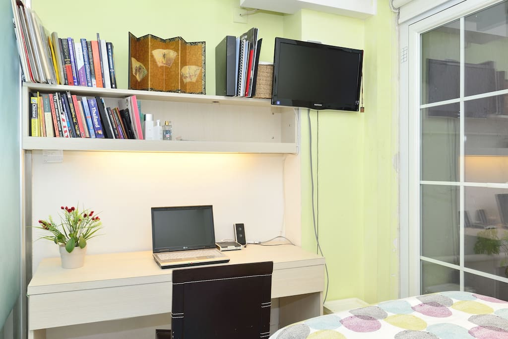 very cosy desk area, with good sized desk