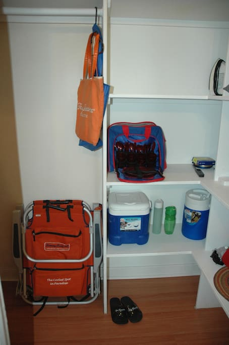 Tommy Bahama Beach chairs & Bag, cooler, lunch tote and drink cooler, also Beach & Bath towels, Shampoo/Conditioner all provided for your convenience.
