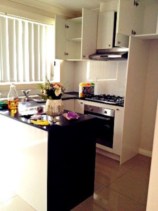 modern kitchen with gas cooking