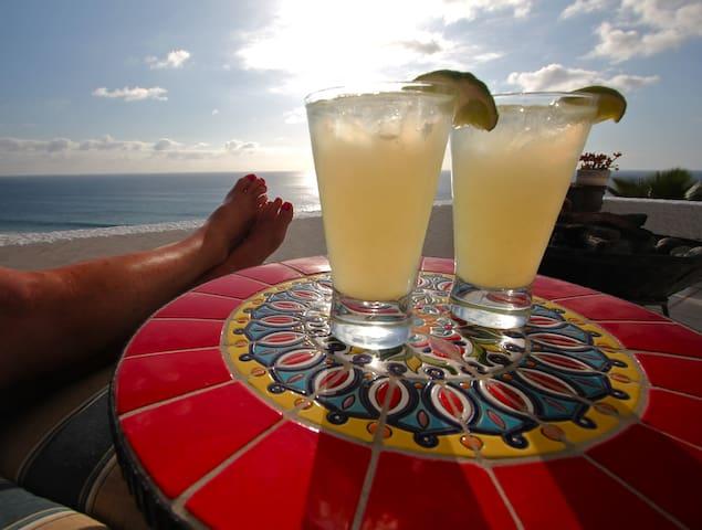 Enjoy margaritas on the front deck!