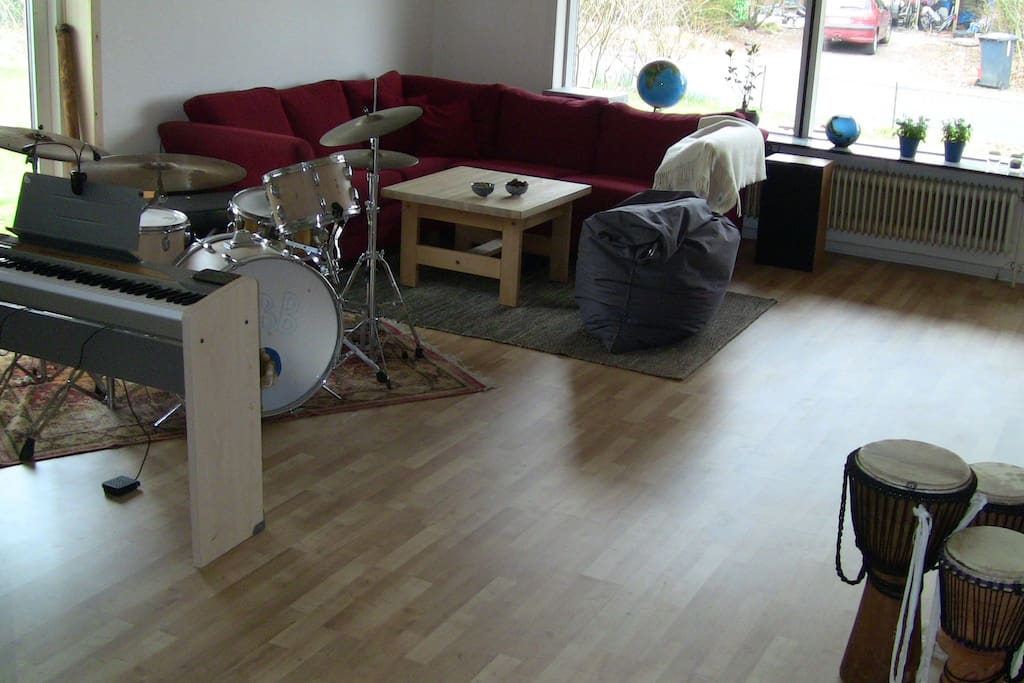 The music and living room, where children love to play on all the different instruments.